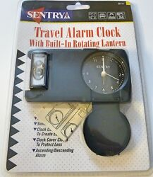 Sentry Analog Travel Alarm Clock With Built-In Rotating Lantern Snooze Control