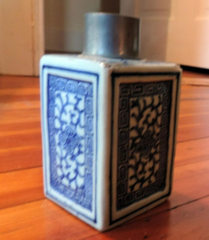 Antique Chinese Porcelain Blue and White Tea Caddy 19th century Export Pewter