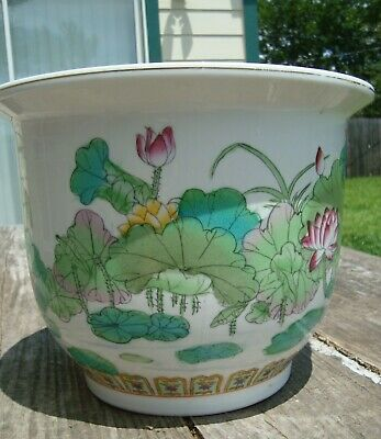 Vintage Chinese Hand Painted Porcelain Planter Flower Pot Lotus Flowers
