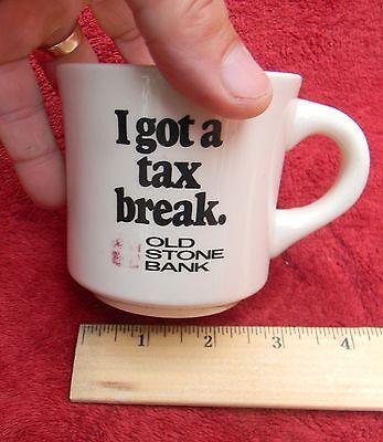 Vintage Old Stone Bank Coffee Cup Mug  Advertising Providence Rhode Island Tax