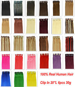24-More-color-20-6pcs-HUMAN-HAIR-CLIP-IN-EXTENSION-30g