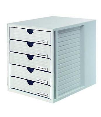 HAN Schubladenbox SYSTEMBOX, DIN A4/C4, 5 geschlossene Schubladen, lichtgrau