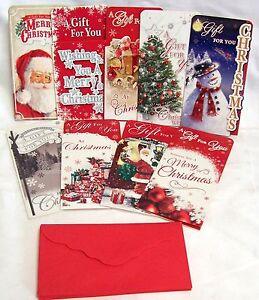 Set Of 9 Traditional Luxury Glitter Christmas Money Gift Wallets  & Envelopes
