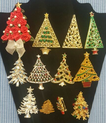 Lot Of 12 Christmas Tree Brooches/Pins Vintage & Modern