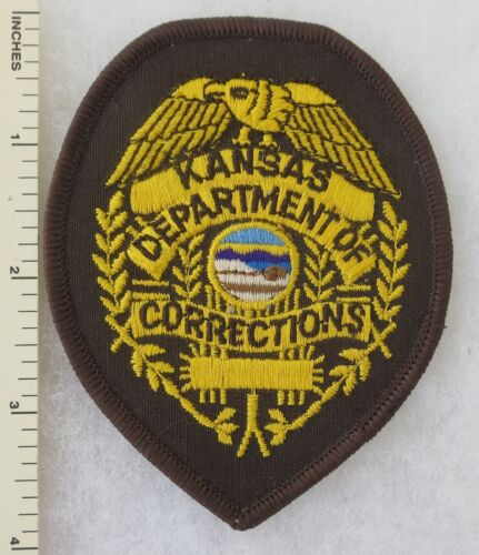 KANSAS DEPARTMENT of CORRECTIONS PATCH (on Brown) Vintage ORIGINAL