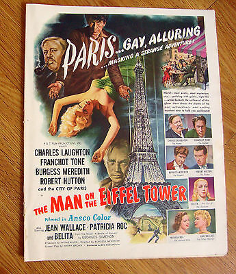 1950 Movie Ad The Man on the Eiffel Tower Laughton Tone Meredith Hutton