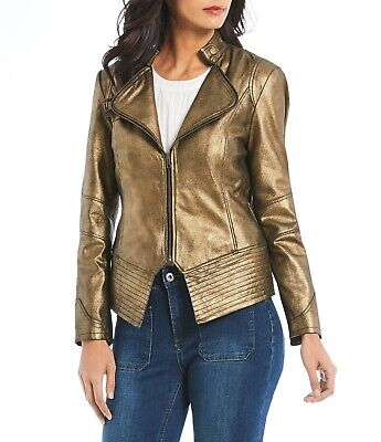 BEST PRICE NWT $348 Reba Leather Jacket Medium Antique Gold/Brown