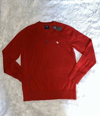 ABERCROMBIE FITCH MENS RED SOFT SWEATER SIZE LARGE NEW WITH TAGS!