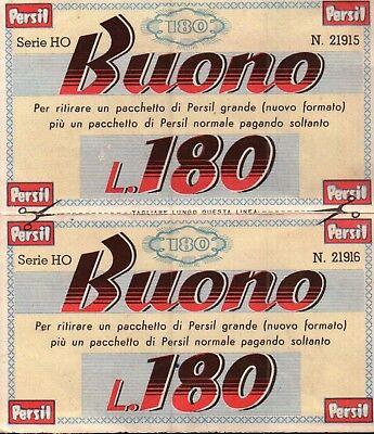 BUONO SCONTO L.180 DETERGENTE PERSIL - ANNI '60 - VINTAGE - (C11-407)