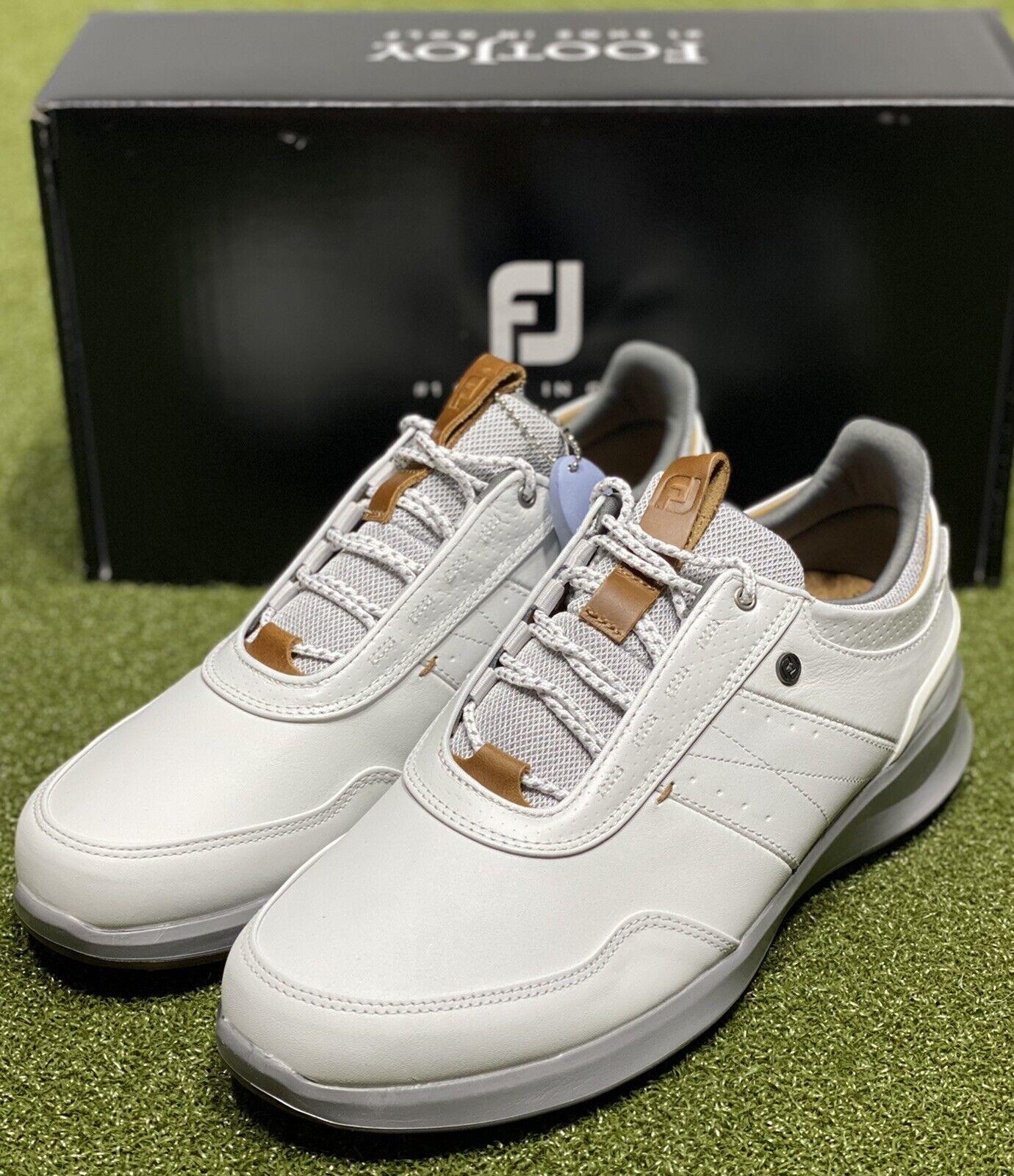 FootJoy Stratos Men s Leather Golf Shoes 50012 White 9.5 Medium D NEW 86087 - $199.95