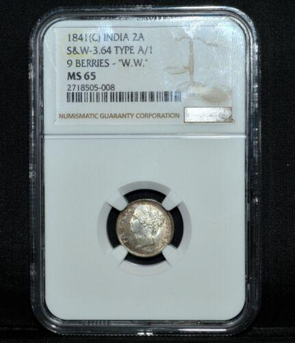 1841-C INDIA 2 ANNAS ✪ NGC MS-65 ✪ 2A 9 BERRIES S&W-3.64 TYPE A/1 W.W. ◢TRUSTED◣