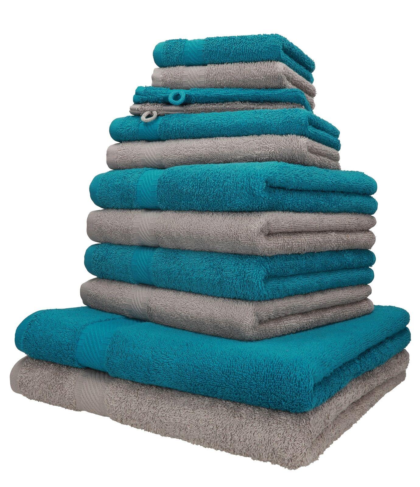 Betz 12er Handtuch Set Handtücher Duschtücher PALERMO  Baumwolle petrol / stone