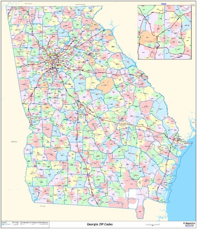 Georgia State Zipcode Laminated Wall Map