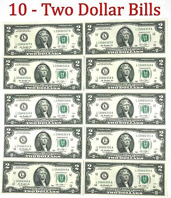 10 Consecutive Serial # Uncirculated $2 Bills Two Dollar Bills  for sale  Shipping to Canada