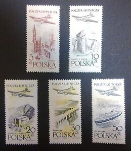 POLAND STAMPS MNH Fi935-9 ScC46-51 Mi1080-84 - Air Mail, 1958, clean - Reda, Polska - POLAND STAMPS MNH Fi935-9 ScC46-51 Mi1080-84 - Air Mail, 1958, clean - Reda, Polska