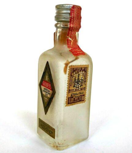 Vtg Gilbey's Gin Miniature Liquor Bottle London Maryland Tax Stamp Embossed Empt