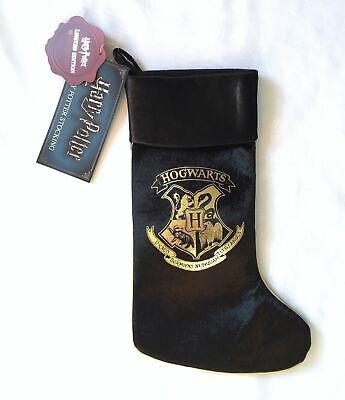 Harry Potter Hogwarts Primark Black Velvet Feel Christmas Stocking Gift BMWT