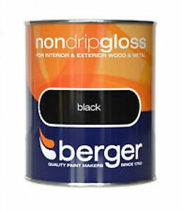Berger Non Drip Gloss For Interior/Exterior - Wood/Metal Black Paint