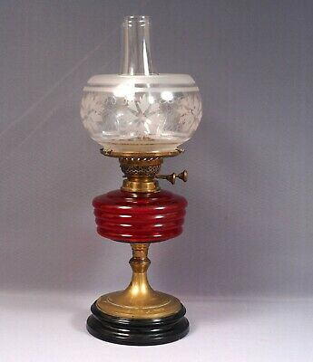 Antique Victorian Ruby Glass Banquet Oil Lamp Brass ENGLISH DUPLEX BURNER