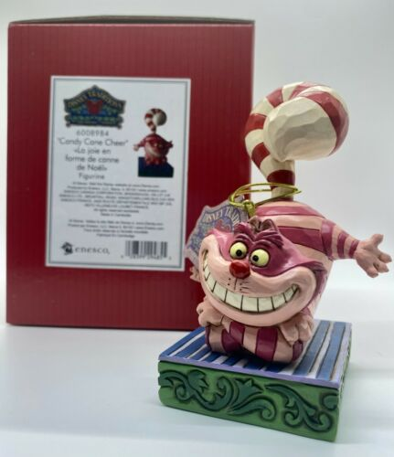 CHESHIRE CAT Candy Cane Cheer Tail Figure Disney Traditions Jim Shore Christmas