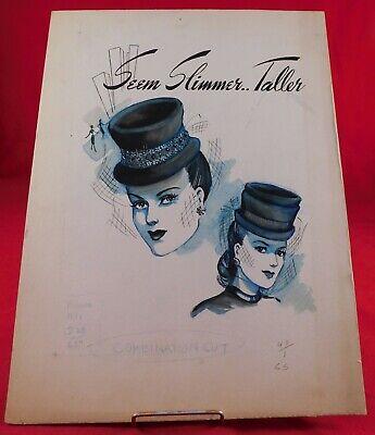 Vintage 1940s Fascinator Hat Advertising Illustration Painting Original Artwork