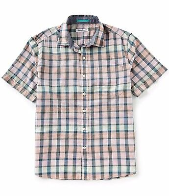 Tommy Bahama Pico Plaid Short Sleeve XXL Electric Coral 100% Cotton Multi Color