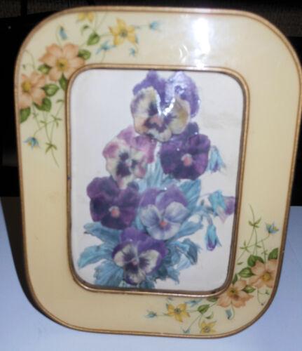 Charming c1930 Enamel Metal Picture Frame, Flowers, Easel