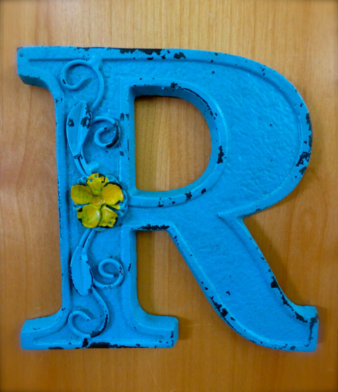 """BLUE CAST IRON WALL LETTER """"R"""" 6.5"""" TALL rustic vintage decor sign child nursery"""