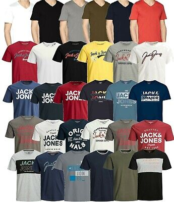 Mens Jack & Jones Printed Short Sleeve T Shirts Crew Neck Casual Tee Tops S-2XL
