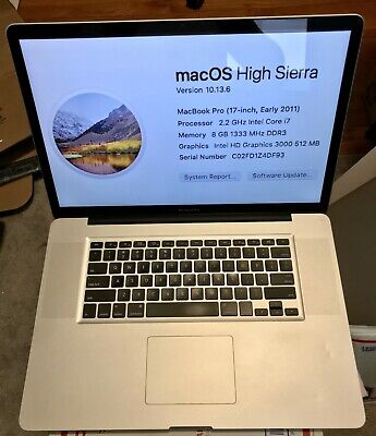 """17"""" A1297 APPLE MACBOOK PRO 2011 17"""" 2.2ghz i7 8GB, 500GB Solid State Drive"""