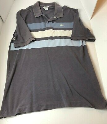 Lacoste Men's Short Sleeve Classic Fit Polo Shirt Size 7 Gray Blue White Stripes