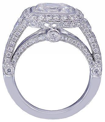 GIA I-VS2 18k White Gold Asscher Cut Diamond Bezel Engagement Ring Deco 3.30ctw 4