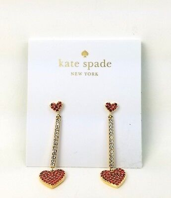 Kate Spade Earring Set Yours Truly Checking In Pave Heart Linear Tassel (Red)