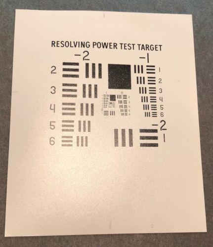 "Resolving Power Test Target  *Optical Resolution Test Target*  4"" x 5"""