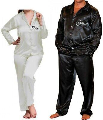 Personalized Mens Pajamas (Personalised Adult Silky Pyjamas Wedding Honeymoon Bridal PJs Pyjama Set Men's)