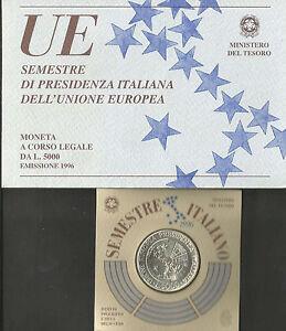 REPUBBLICA ITALIANA: 1996 UE PRESIDENZA ITALIANA, L. 5.000 ARGENTO FDC - Italia - REPUBBLICA ITALIANA: 1996 UE PRESIDENZA ITALIANA, L. 5.000 ARGENTO FDC - Italia