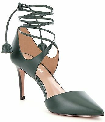 Coach Shae Soft Shine Green Leather Ankle Lace Up Heels Shoes Pumps 7 B NIB $265