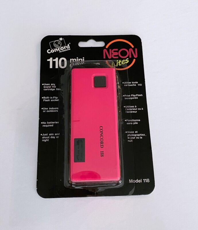 NOS Vintage Concord 110 Film Pocket Camera Neon Lites Hot Pink Sealed New 1980