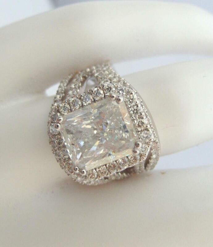 Diamond Band Set Ring 18k White Gold 6.5 Ct Halo Vs1 D 8 Prongs Natural Radiant