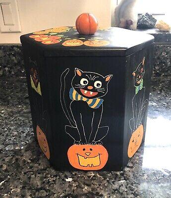 Black Cat Halloween Cookie Jar Handmade Artisan OOAK Signed Kitty Pumpkin Box