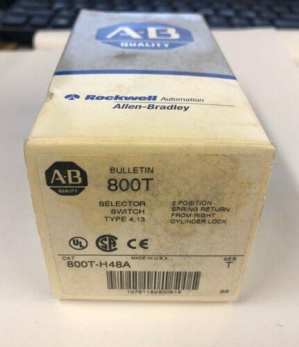 NIB Allen Bradley 800T-H48A Key Selector Switch 2 Pos Spring Return from right