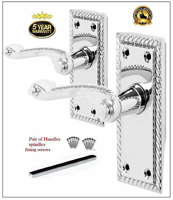 Chrome Interior Pack - 1 Pack of CHROME Silver GEORGIAN ROPE Interior Latch Door Handles  D30