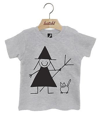 Halloween Süß Hexe und Katze Kostüm-party Popper Hals Baby T-Shirt