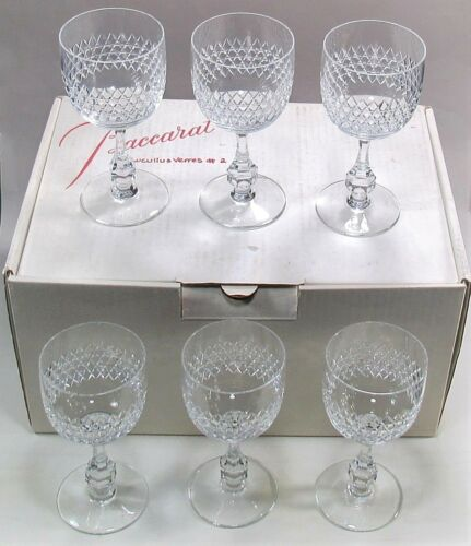 RARE Set of 6 Vintage French BACCARAT Crystal LUCULLUS VERRES Wine Stems IOB!