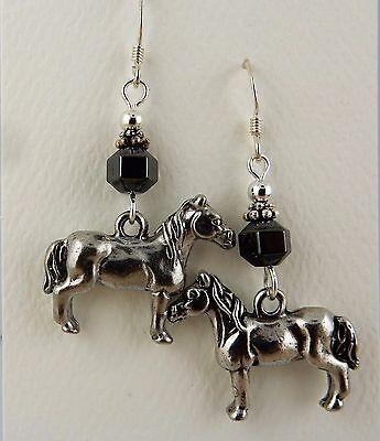 Pewter Horse Earrings with Hematite gemstones, Equine earrings