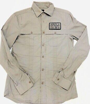 ARMANI EXCHANGE DESIGNER MENS Xs Long Sleeve Gray BTTN 100 Cotton  BIG BACK LOGO