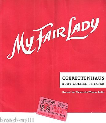 "Lerner & Loewe ""MY FAIR LADY"" Karin Huebner / Hamburg, Germany 1965 Program"