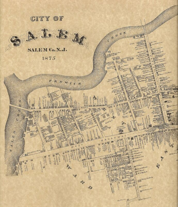 Salem City Salem County NJ 1876 Maps with Homeowners Names Shown