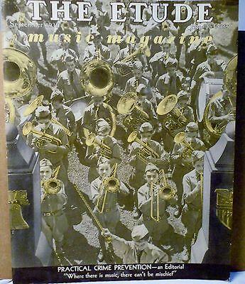 Vtg Etude Music Magazine September 1939 Volume LVII No. 9 Crime Prevention