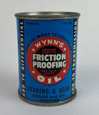 vintage auto WYNN'S FRICTION PROOFING OIL ADVERTISING TIN